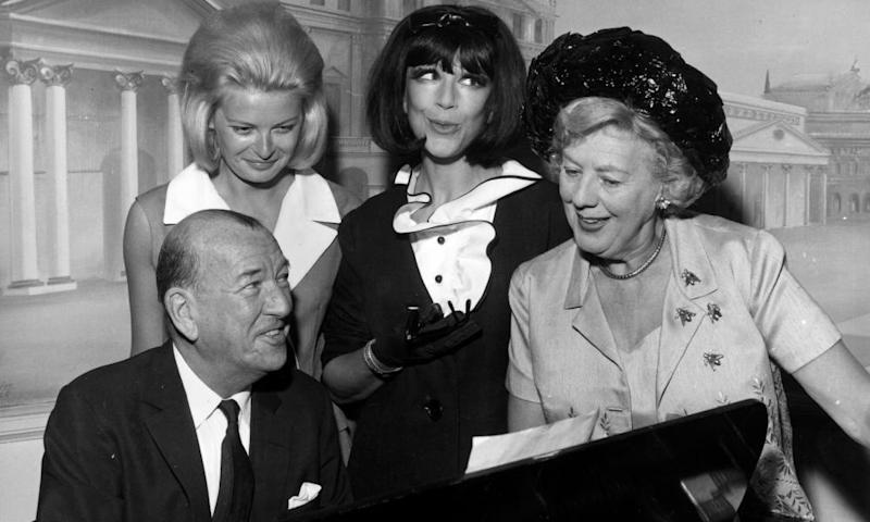 Fenella Fielding with Noël Coward and other stars of High Spirits in 1964