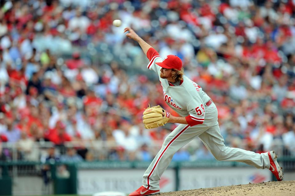 """Tyson Brummett #59 of the Philadelphia Phillies pitches in his major league debut against the <a class=""""link rapid-noclick-resp"""" href=""""/mlb/teams/washington/"""" data-ylk=""""slk:Washington Nationals"""">Washington Nationals</a> at Nationals Park on October 3, 2012 in Washington, DC. (G Fiume/Getty Images)"""