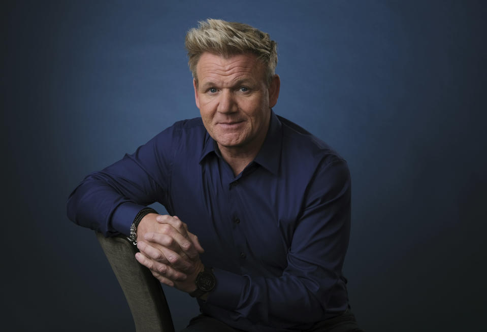 """FILE - This July 24, 2019 file photo shows chef and TV personality Gordon Ramsay posing for a portrait to promote his National Geographic television series """"Gordon Ramsay: Uncharted,"""" in Beverly Hills, Calif. Stay-at-home orders, traveling fears and the cancellation of sporting events, concerts and theme parks have forced the Make-a-Wish foundation to come to a stand-still, leaving young people's requests in holding patterns. The charity has introduced """"Messages of Hope,"""" encouraging the public and celebrities to record inspiring messages and upload them to social media, and so far, stars like Ramsay have already participated.(Photo by Chris Pizzello/Invision/AP, File)"""