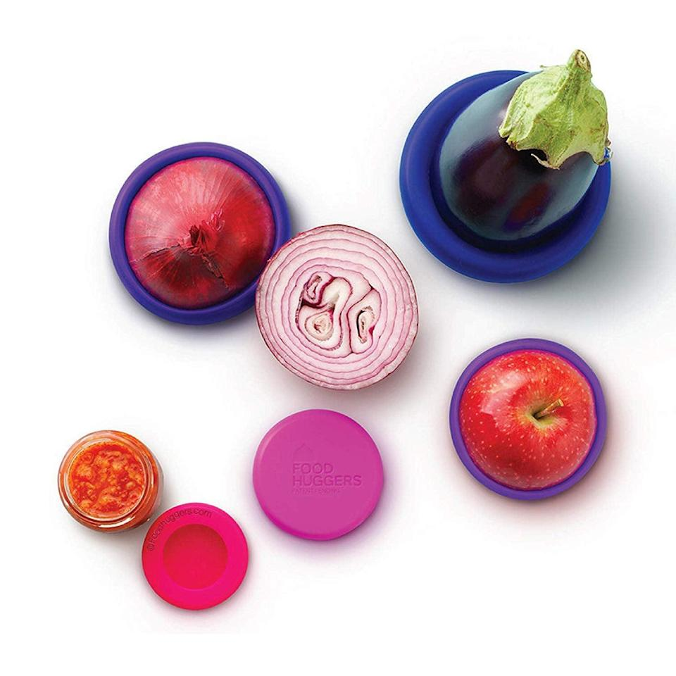<p>Save yourself from using plastic bags with these <span>Food Huggers Reusable Silicone Food Savers </span> ($13). You can even put them on top of cans and glasses.</p>
