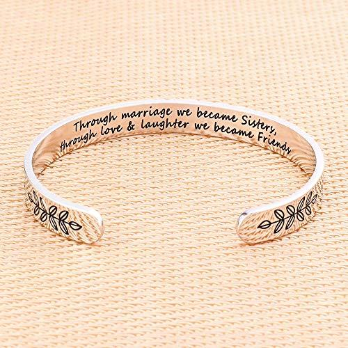 Gifts For Sister In Law For Wedding - Through Marriage We Became Sisters Through Love And Laughter We Became Friends Bracelet Bday Christmas Wedding Gifts for Sister in Law from Sister In Law (Amazon / Amazon)