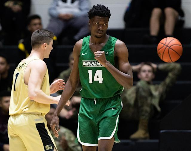Binghamton forward Calistus Anyichie died Sunday in a drowning accident. He was 19. (Photo by Dustin Satloff/Getty Images)