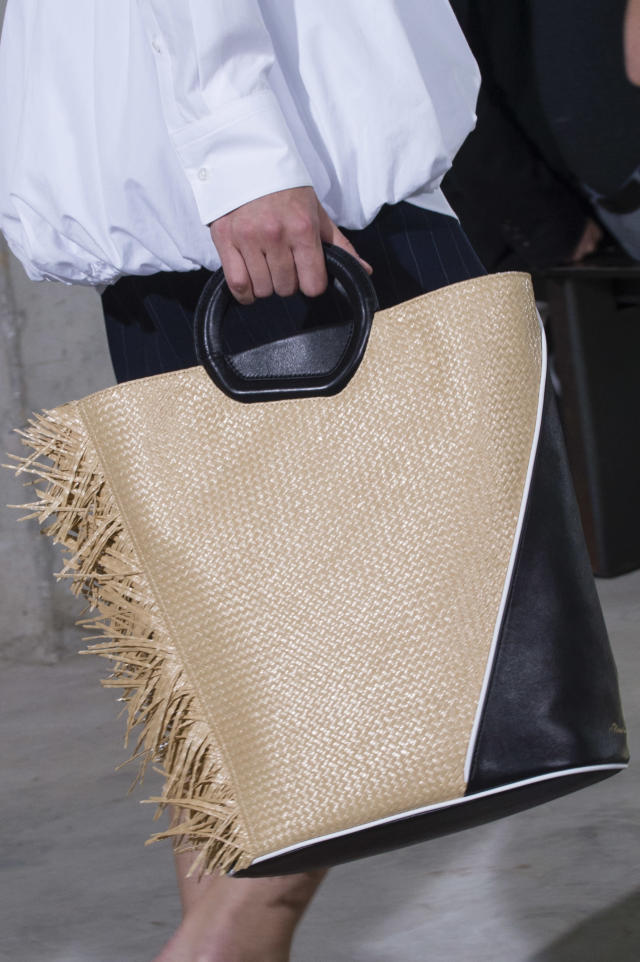 <p><i>Brown and black woven tote from the SS18 3.1 Phillip Lim collection. (Photo: ImaxTree) </i></p>