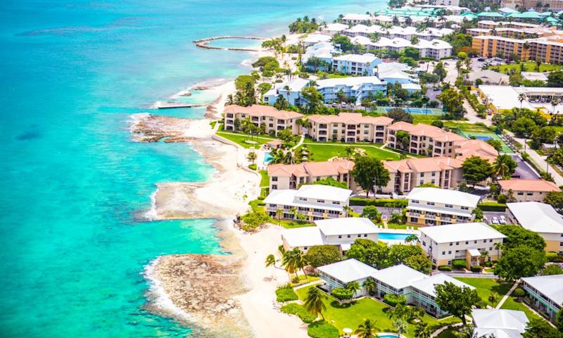 An aerial view of the coast of Grand Cayman, Cayman Islands.