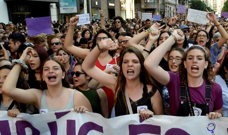 Protesters in Valencia march in protest of five men being released on bail who were sentenced to nine years' prison for sexually abusing a young woman