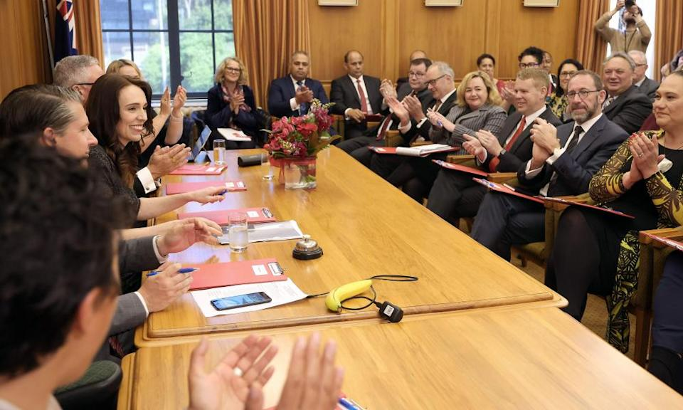 Jacinda Ardern is applauded at her first Labour caucus meeting since the election.