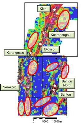 Figure 1: Soil Anomaly Targets of 22,000-Meter RC Program (CNW Group/SEMAFO)