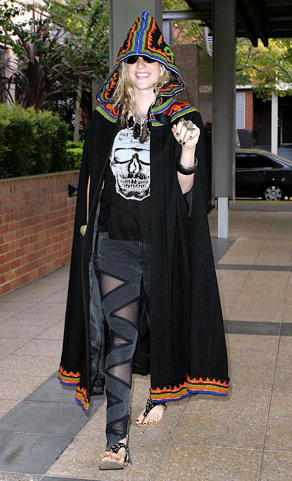 "Halloween isn't for another seven months, but Ke$ha looked as if she were ready to go trick or treating in the witch-like getup she donned while promoting her album <i>Animal</i> in Australia. Although the ""Tik Tok"" singer has described her style as being ""garbage-chic,"" we're not quite sure what category this bizarre look falls into. Carlos Costas/<a href=""http://www. PacificCoastNews.com"" target=""new"">PacificCoastNews.com</a> - March 24, 2010"