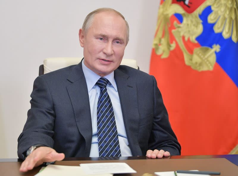 Russia's President Putin addresses members of the Russian Union of Industrialists and Entrepreneurs outside Moscow