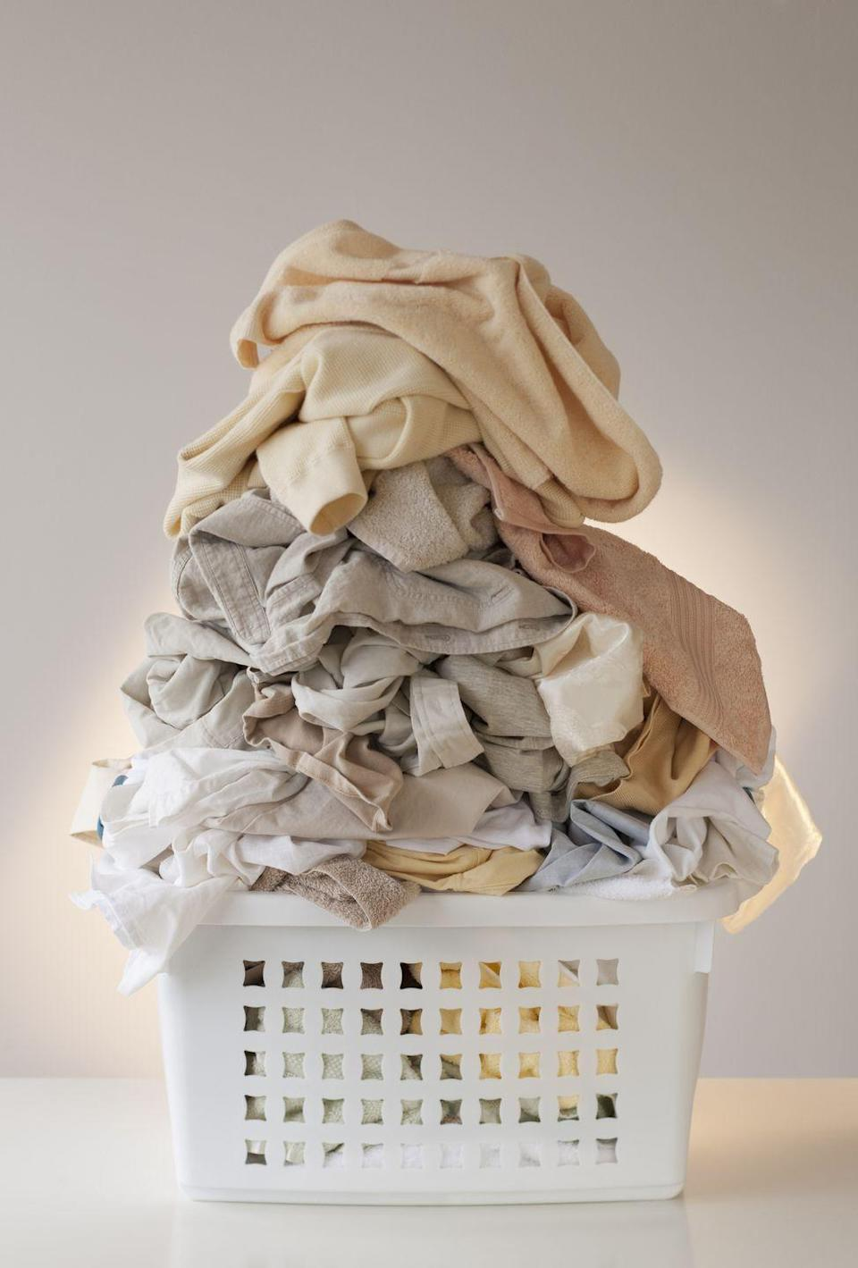 """<p>While washing your towels after every three uses and giving them a <a href=""""https://www.countryliving.com/life/a43684/how-often-you-should-wash-your-towels/"""" rel=""""nofollow noopener"""" target=""""_blank"""" data-ylk=""""slk:vinegar treatment"""" class=""""link rapid-noclick-resp"""">vinegar treatment</a> will typically keep 'em fresh, if they're discolored, it's time to pony up for <a href=""""https://www.bedbathandbeyond.com/store/category/bath/bath-towels-rugs/bath-towels/13434/"""" rel=""""nofollow noopener"""" target=""""_blank"""" data-ylk=""""slk:new ones"""" class=""""link rapid-noclick-resp"""">new ones</a>.</p>"""