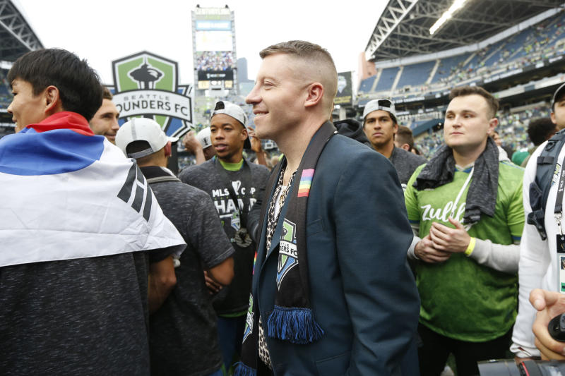 November 10, 2019; Seattle, WA, USA; Recording artist Macklemore smiles after the MLS Cup between the Seattle Sounders and the Toronto FC at CenturyLink Field. Mandatory Credit: Joe Nicholson-USA TODAY Sports