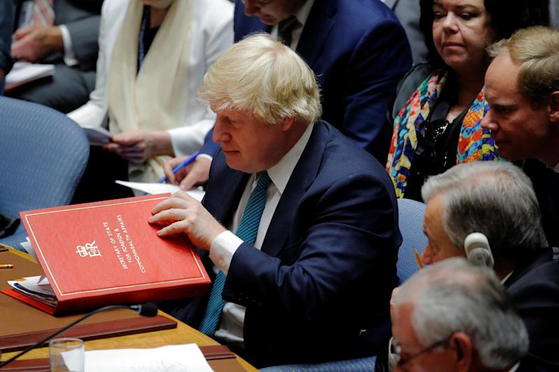 Britain's Foreign Secretary Boris Johnson at a Security Council meeting on the situation in North Korea: REUTERS