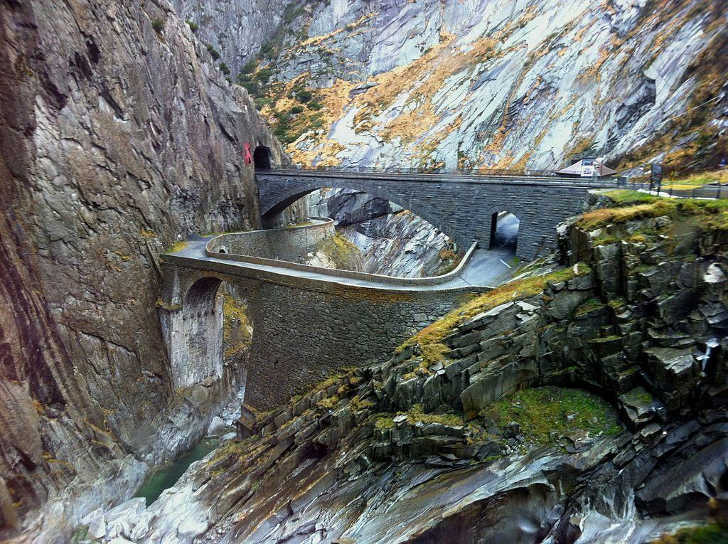 Teufelsbrücke, Switzerland: This is the bridge built by the devil, or so the local people believe. The Teufelsbrücke spans the Reuss River high up in the Swiss mountains in the canton of Uri.