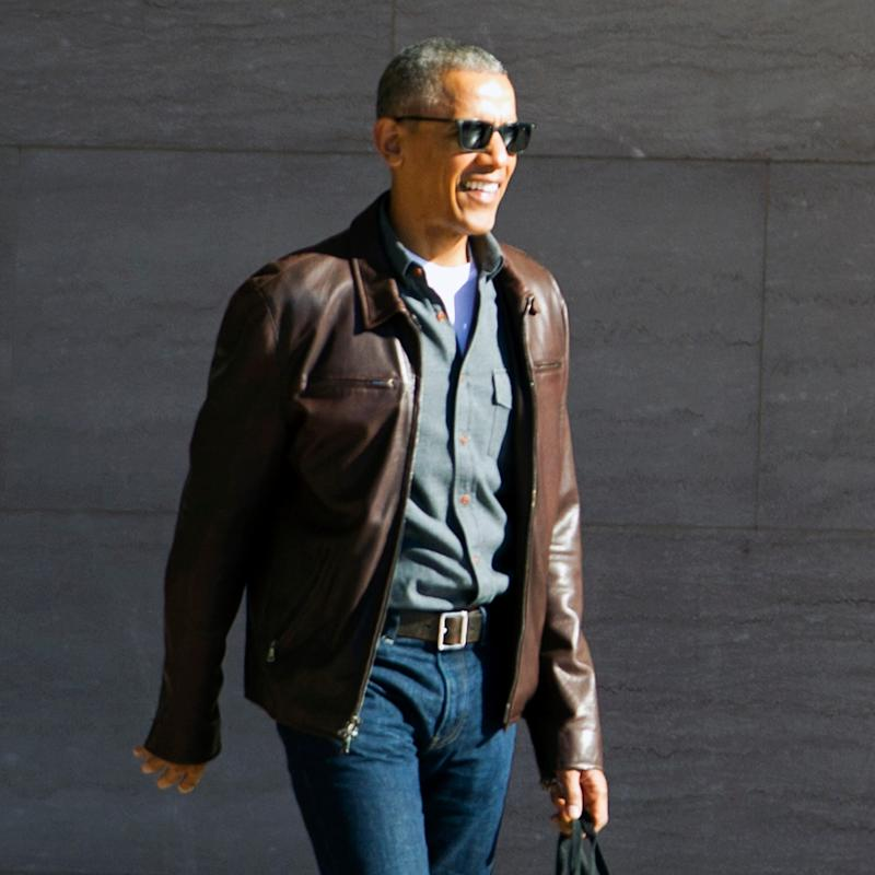 Barack Obama leaving the National Gallery of Art on Sunday - Credit: AP