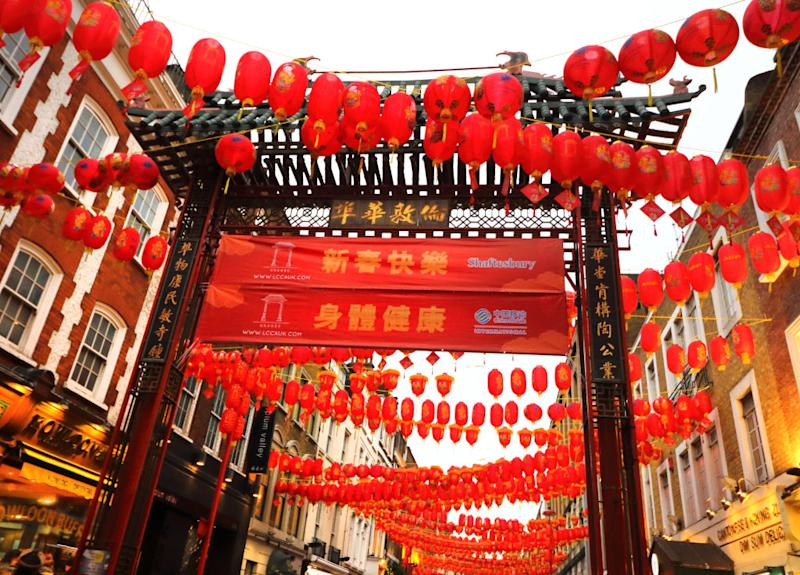 LONDON, UNITED KINGDOM - 2020/01/23: Lanterns festooned across the streets as London's vibrant Chinatown district prepares for Chinese New Year celebrations. (Photo by Keith Mayhew/SOPA Images/LightRocket via Getty Images)