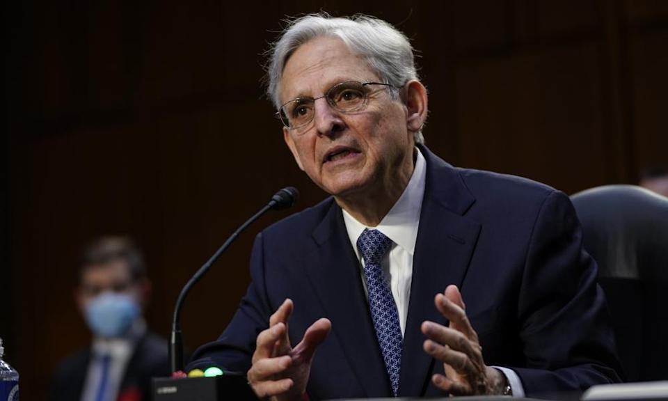 Merrick Garland speaks during his confirmation hearing before the Senate judiciary committee on 22 February.