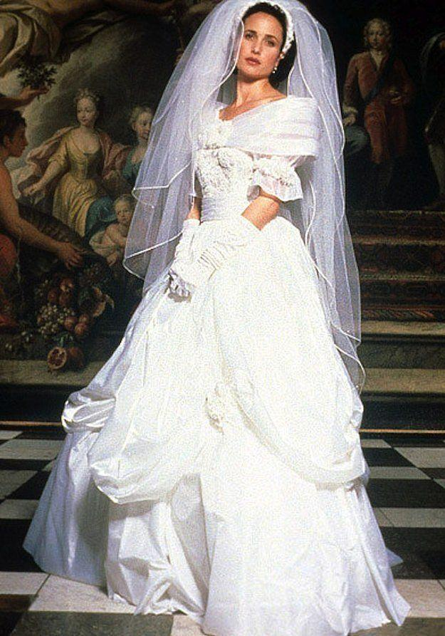 <p>I honestly gasp at this pic of Andie MacDowell (who plays Carrie) every single time—that veil, those gloves, the neckline! It's all so good. </p>
