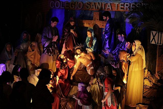 "Actors take part in a ""Via Crucis"" (Way of the Cross) re-enactment of the Last Supper during Holy Week, in preparation for Good Friday celebrations, in Luque, Paraguay. Holy Week is celebrated in many Christian traditions during the week before Easter."