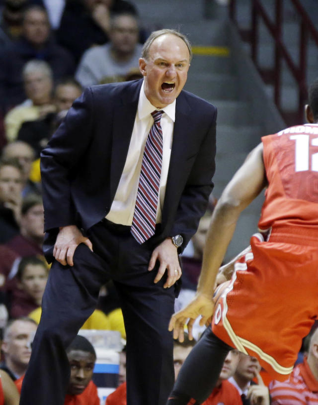 Ohio State head coach Thad Matta yells at his team late in the second half of an NCAA college basketball game against Minnesota, Thursday, Jan. 16, 2014, in Minneapolis. Minnesota won 63-53. (AP Photo/Jim Mone)