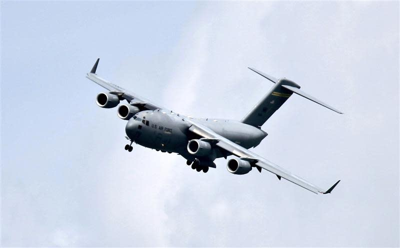 File photo of Boeing C-17 Globemaster III military transport aircraft of the USAF performing a fly-by during the Singapore Airshow
