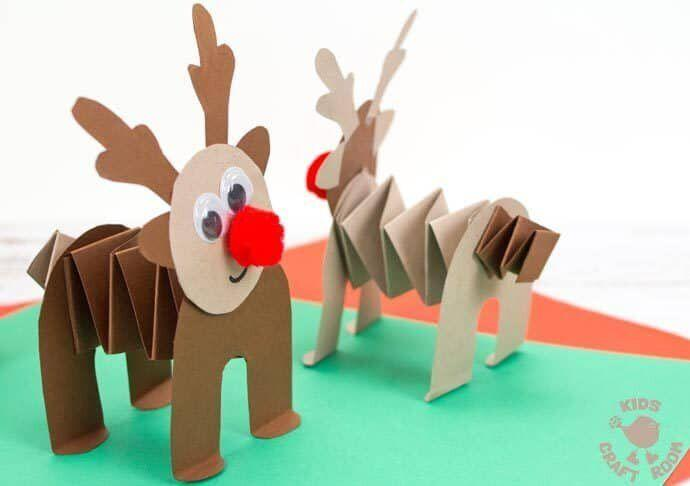 "There's only one Rudolph &mdash; right? &mdash; but you can invent some more. It's Christmas! Learn how to make it at <a href=""https://kidscraftroom.com/printable-accordion-paper-reindeer-craft/"" target=""_blank"" rel=""noopener noreferrer"">Kids Craft Room</a>."
