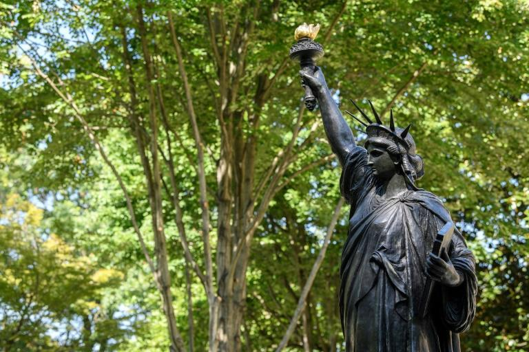 A replica of the Statue of Liberty was unveiled at the French ambassador's residence in Washington, DC on the occasion of the French holiday Bastille Day