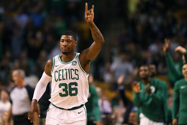 Marcus Smart is great on the defensive end, but his offensive deficiencies and rotation with his teammates make him a risky Fantasy play. (Photo by Maddie Meyer/Getty Images)