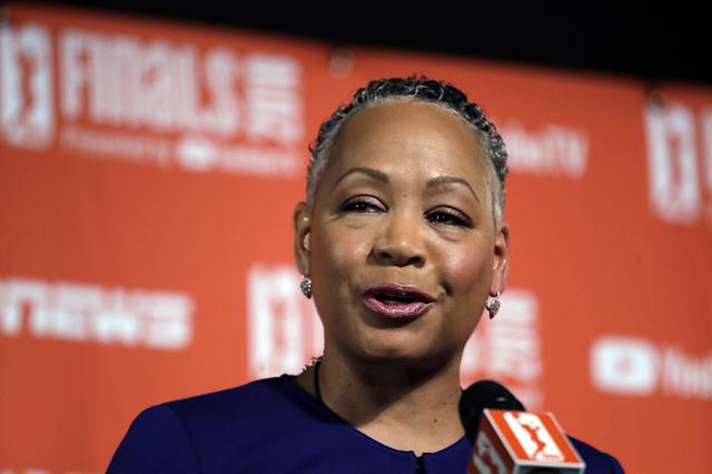 FILE - In this Sept. 7, 2018, file photo, WNBA president Lisa Borders addresses media members before Game 1 of the WNBA basketball finals between the Seattle Storm and the Washington Mystics, in Seattle. WNBA President Lisa Borders is stepping down. The league announced Tuesday, Oct. 2, 2018, she will become the first president and CEO of Time's Up an organization dedicated to safe, fair and dignified work for women. Borders says it was fully her decision to leave. (AP Photo/Elaine Thompson, File)