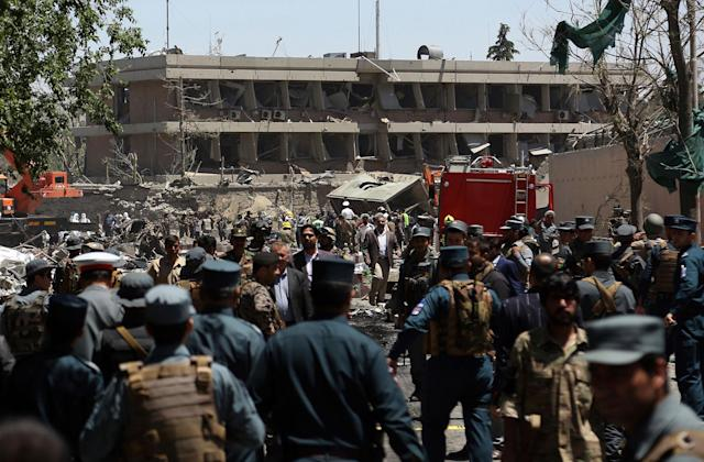 <p>Security forces inspect the site of a suicide attack where the German Embassy is located in Kabul, Afghanistan, Wednesday, May 31, 2017. (AP Photos/Rahmat Gul) </p>