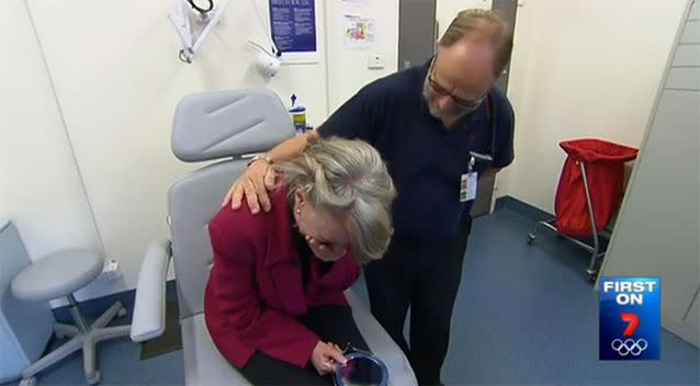 Mrs Murray breaks down after seeing her reflection. Photo: 7 News