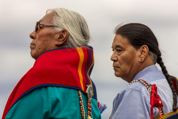 Portrait of Native American men at Indian tribal ceremony. (Photo by: Visions of America/Universal Images Group via Getty Images)