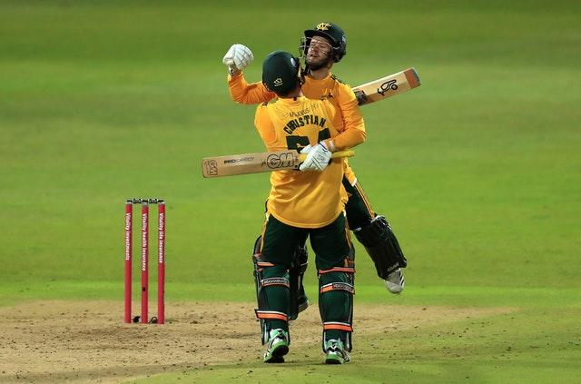 Dan Christian (left) and Ben Duckett guided Nottinghamshire to victory in the final