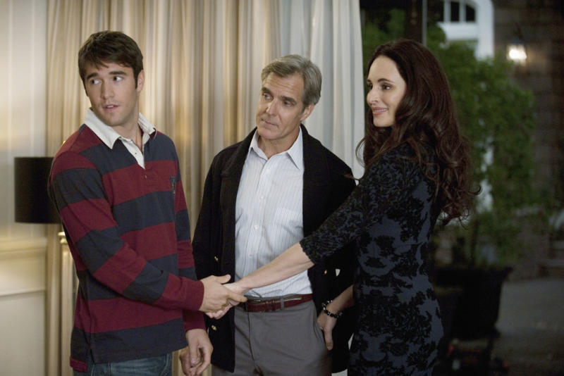 "Josh Bowman, Henry Czerny and Madeleine Stowe in ""Lineage,"" the eighth episode of ""Revenge"" Season 2."