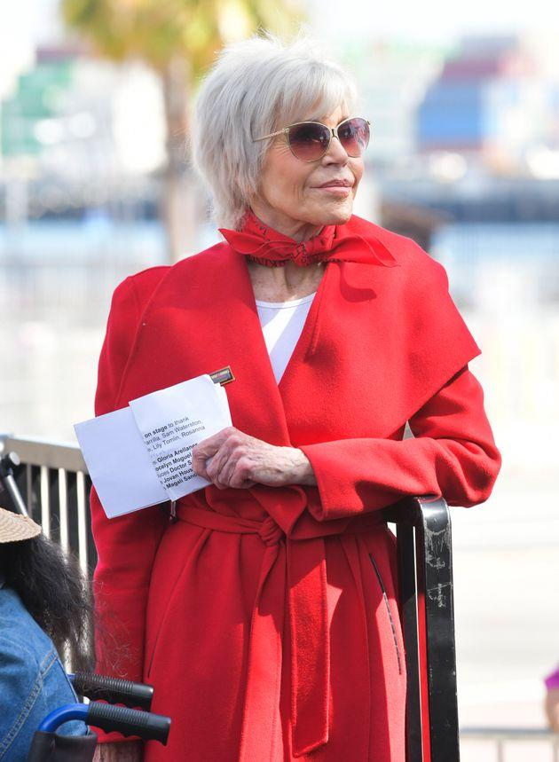 Jane Fonda at one of her Fire Drill Fridays protests last month
