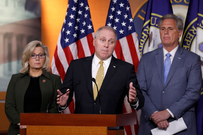Congressional Minority leaders hold a news confrence ahead of the House vote on the impeachment of U.S. President Donald Trump on Captiol Hill in Washington