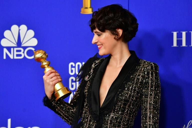 "British actress Phoebe Waller-Bridge snagged two awards for her hit show ""Fleabag"" at the 77th Annual Golden Globes"