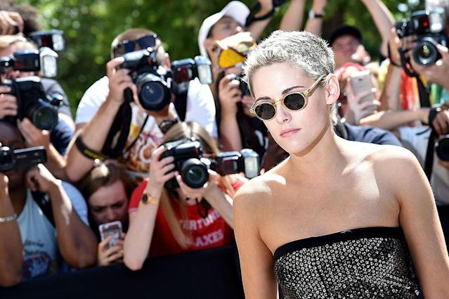 <p>Yep, KStew, a Chanel ambassador, showed off her short, bleached tresses, too! (Photo: Jacopo Raule/GC Images) </p>