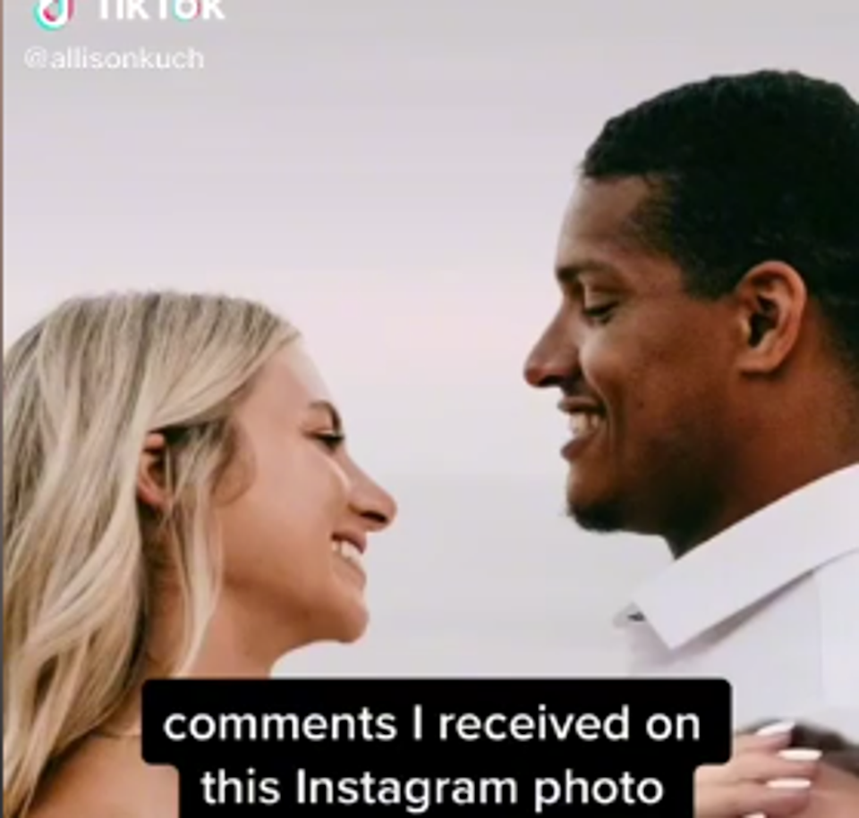 Screengrab from the TikTok video shared by Allison Rochell over the racial abuse hurled at the couple for their interracial marriage (Screengrab/Allisonkuch)