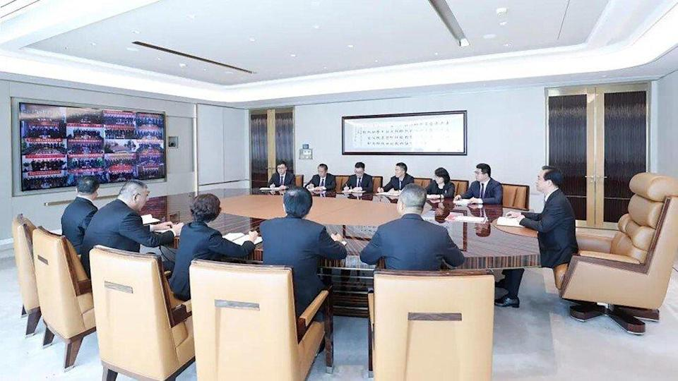 Chairman Hui Ka-yan and senior executives of Evergrande's units pledged to deliver homes to buyers amid a liquidity crunch. Photo: Handout