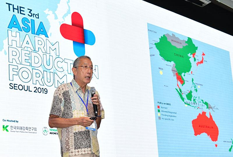 The forum's keynote speaker, Lee Kuan Yew School of Public Policy professor Tikki Pangestu, at the third Asia Harm Reduction Forum in Seoul on 29 August, 2019. (PHOTO: AHRF)