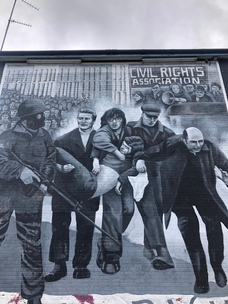A mural in Derry, Northern Ireland.