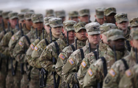 FILE PHOTO: U.S. soldiers attend the inauguration ceremony of bilateral military training between U.S. and Polish troops in Zagan, Poland, January 30, 2017. REUTERS/Kacper Pempel