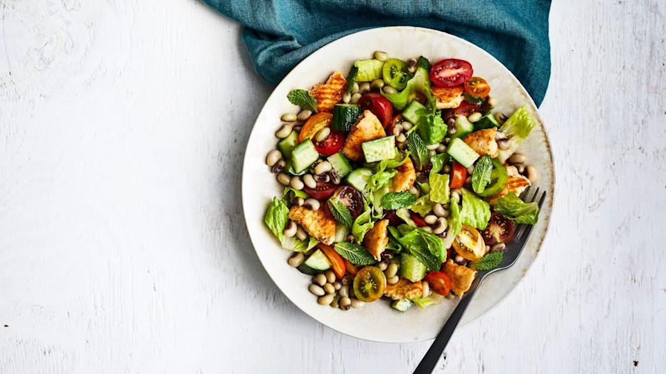 """<p><strong>Recipe: </strong><a href=""""https://www.southernliving.com/recipes/field-pea-fattoush-salad"""" rel=""""nofollow noopener"""" target=""""_blank"""" data-ylk=""""slk:Field Pea Fattoush Salad"""" class=""""link rapid-noclick-resp""""><strong>Field Pea Fattoush Salad</strong></a></p> <p>Panzanella fans will fall for Fattoush, a Middle Eastern dish made with toasted pita instead of croutons or cornbread.</p>"""