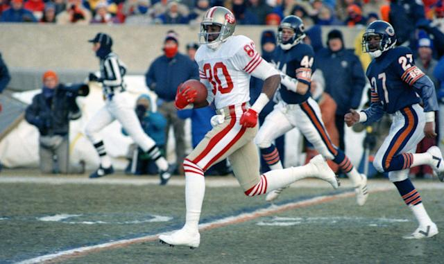 <p>Rice still owns all three major receiving records, for career yards, receptions and touchdown catches. But his yardage mark seems like the most unreachable when you consider that Terrell Owens is No. 2 all-time in career yardage at 15,934, or close to 7,000 yards behind. The active player who is closest? Arizona's Larry Fitzgerald at 14,389. </p>
