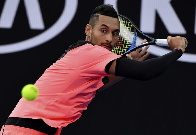 Nick Kyrgios, focused on tennis, not NFL protests. (AP)