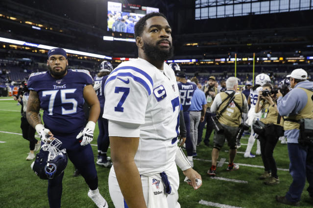 Indianapolis Colts quarterback Jacoby Brissett (7) walks off the field following an NFL football game against the Tennessee Titans in Indianapolis, Sunday, Dec. 1, 2019. The Titans defeated the Colts 31-17. (AP Photo/Darron Cummings)
