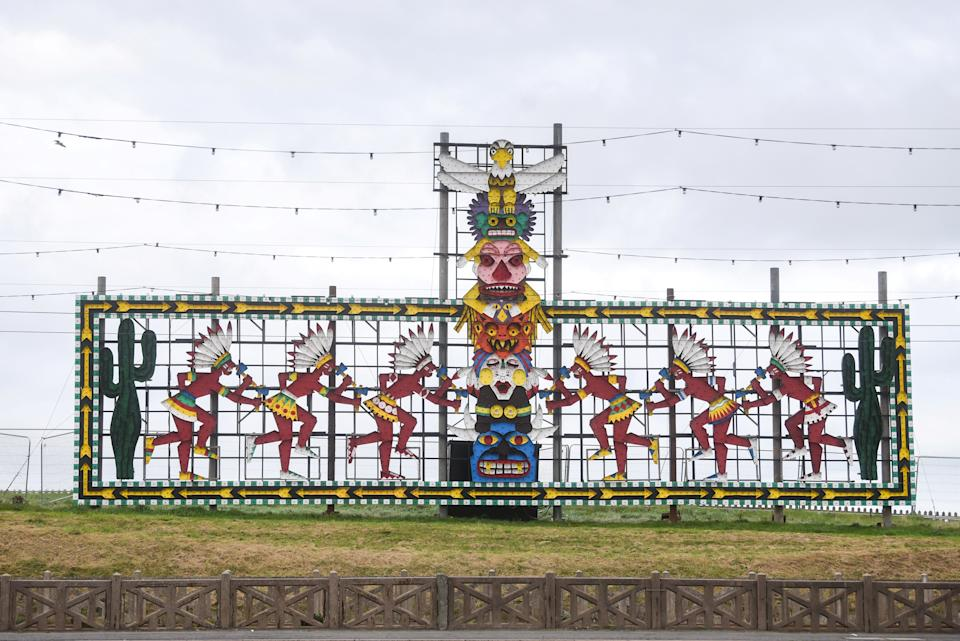 Complaints have been made that some of the Blackpool illuminations are racist. See SWNS story SWBRlights; A famous 60-year-old panel featured as part of the popular Blackpool Illuminations light show could be removed next year - after complaints of racism. The world-famous light show has been attracting millions of visitors to the Lancashire seaside town for over 140 years, with the Promenade lit up for a whole four months at the end of each year. But one of the illuminated attractions, which has featured in the light show since the 1960s, has now come under fire for portraying allegedly racist imagery. The offending tableau, located to the north of Blackpool Promenade, depicts six axe-wielding Native Americans in war bonnets, dancing around a totem pole. It has prompted a complaint from a member of the Native American tribe, Chickasaw Nation, who is now living in England - and says the display paints Blackpool as a town that supports racism and discrimination.