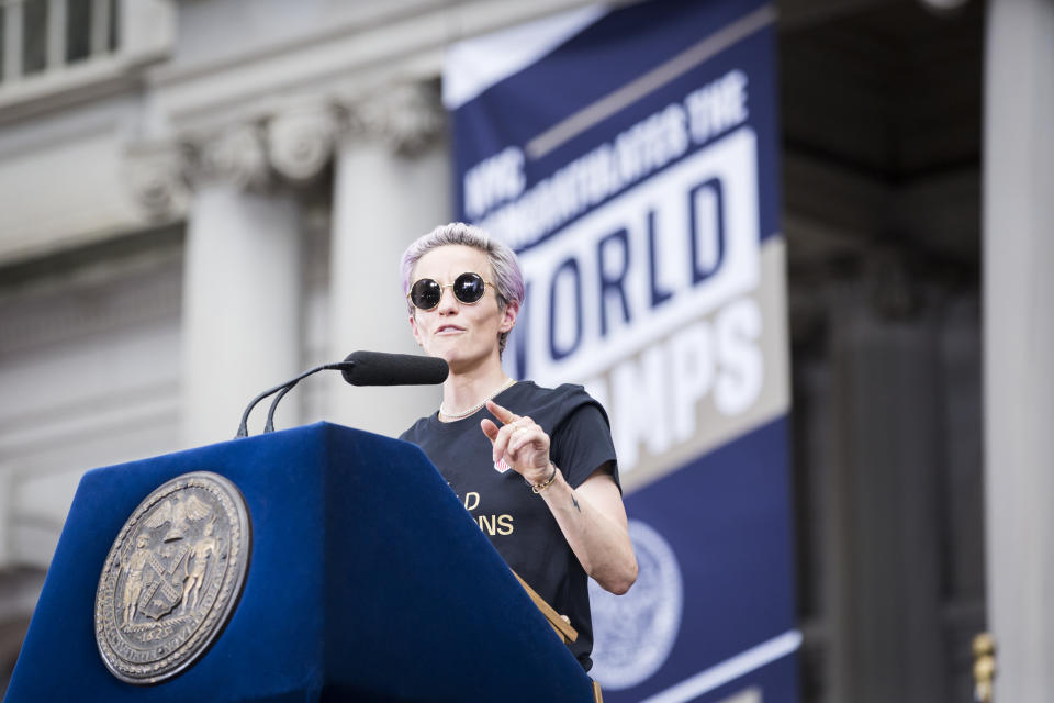 Team USA's Megan Rapinoe makes a point as she addresses the crowd during an event to honor the team's 2019 FIFA World Cup Championship title. (Ira L. Black/Corbis via Getty Images)
