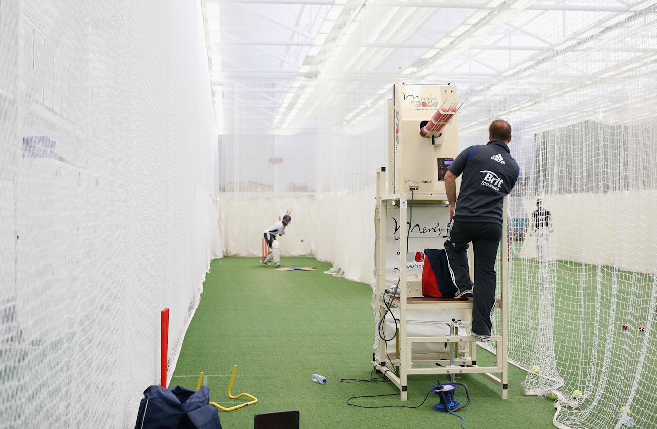 LOUGHBOROUGH, ENGLAND - NOVEMBER 08:  A general view of the nets during the ECB England Performance Programme Training session at Loughborough University on November 8, 2012 in Loughborough, England.  (Photo by Tom Shaw/Getty Images)