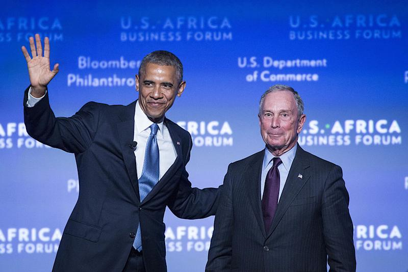 President Barack Obama waves to the audience after being introduced by Michael Bloomberg, former New York City mayor, during the US-Africa Business Forum, at the Mandarin Oriental Hotel in Washington, D.C., on Tuesday, August 5, 2014. A two-decade surge in growth in Africa suggests the poorest continent is starting to come to grips with its challenges and has raised the prospect of the 'African lions' emulating the 'Asian tiger' economies in the 21st century. (Photo by Drew Angerer/Bloomberg)